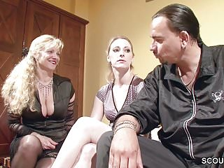 How to swallow dick - German mom teach young couple how to fuck and swallow