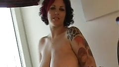British emo plays with her natural big tits and shaved pussy