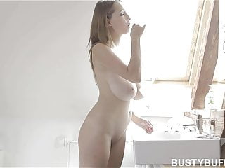 Brush spank Busty buffy brushing teeth and masturbating