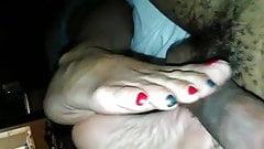Latina sexy arched footjob