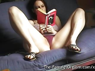 Read doll porn Home alone selfie reading erotica and masturbating