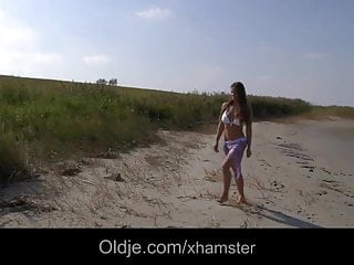 Girls beach fuck - Big titty teen fucking older on the beach