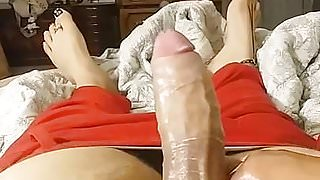 Playing with my cock and my twink feet