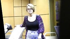 Hidden cam - Cute and busty library assistant (no nudity)