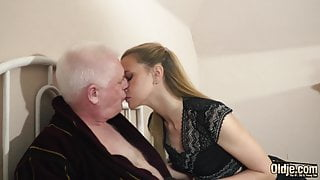 Old professor pounds some tight college student ass