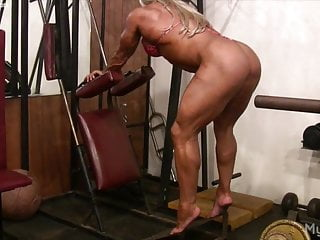Naked females wallpapers - Naked pro female bodybuilder plays with her big clit