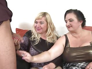 Mom has sex with young son - Three mature busty moms vs one young son