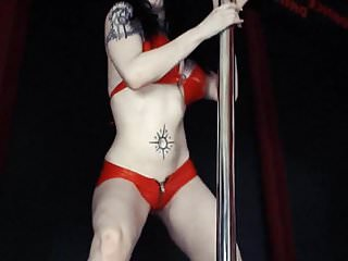 Lesbian pole dance - Back in black - big tits pole dance striptease