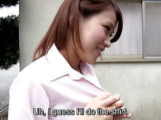 Latex paper Subtitled japanese teens strip rock paper scissors outside