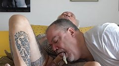 Condomed Cock Bow Job and Cum