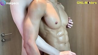 Hot asian guy getting nipple played in the shower and fuked