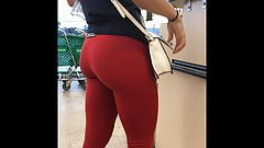 Red Hot Leggings Candid Booty