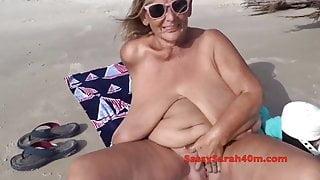 Sarahs huge 40M tits tugged and groped