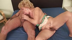 Old Mature Granny with big tits and open pussy