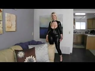 Blond latex Sexy curvy blond milf with big natural tits