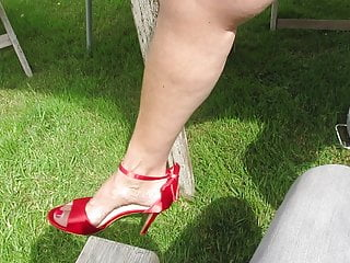 Pussy shoe milf Red shoes feet upskirt