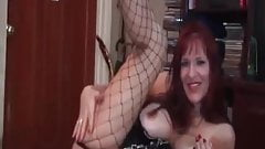 My MILF Exposed Busty cougar in fishnets with huge dildo