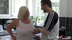 Blonde Granny fucks young boy