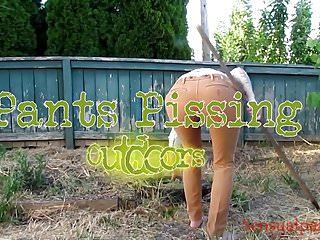 Pee pant at work - Slave life pants pissing peeing outdoors