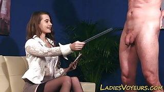 Kinky dominatrix fingering her pussy