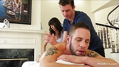 Massage session leads to bi threesome