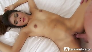Incredibly beautiful brunette loves to ride hard cock