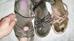 Cum and piss on wifes shoes