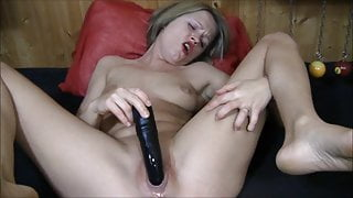 Worthless dumb German blonde cunt masturbates with toy