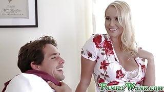 Busty blonde stepmom Vanessa Cage takes stepson's cum on tits