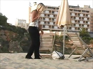 Landlady strip nude - Alison - strips play almost nude on a beach