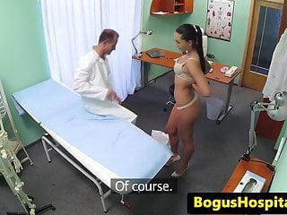 Sexy nurse anal exam - Fake doctor pussylicks nurse on exam table