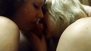 Real Russian mother and daughter handle young man