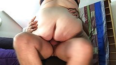 Mature BBW rides cock cowgirl on chair to loud orgasm TnD