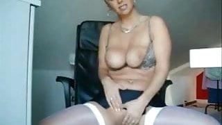 Hot amateur MILD in white stockings masturbating