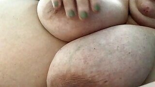 Spanking and slapping my big natural heavy saggy mommy tits