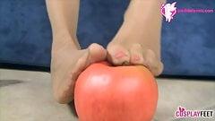 Snow White footjob in black pantyhose