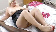 GRANNYLOVESBLACK - Grandma Strokes Lubed Cock With Feet
