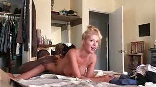 Real homemade amateur threesome with blonde wife. Hubby films