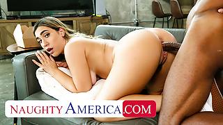 Naughty America - Hot blonde with pierced nipples fucks BBC