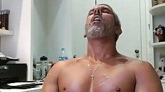 beautiful daddy in his milk bath