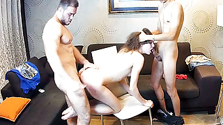 Sexy Cute Pussy Teen has Threesome Spit Roast on RealCam