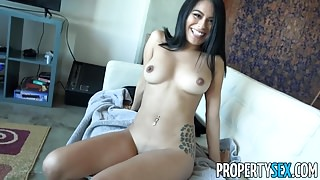 PropertySex - Couch surfing female takes advantage of host