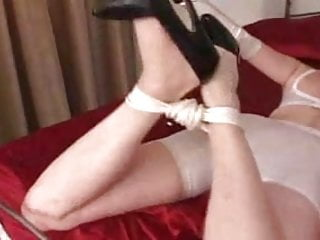 Pumping bondage Bondage with sexy stockings high heels black 6inch pumps