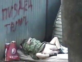 Fuck homeless Russian homeless fuck outdoor