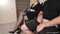 Stranger woman in the waiting room handjob in pantyhose