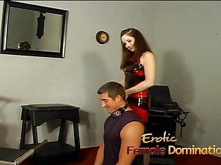 Tied for fun and pleasure Kinky dominatrix slut ties a stud down and pleasures his
