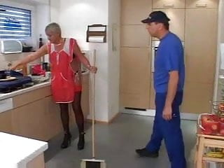 Mature granny in nylons Grey haired granny in red top stockings cleans up