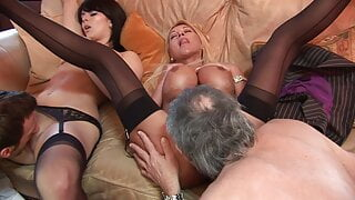 Blonde MILF and younger brunette get pounded by two dudes