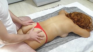 The stepson gave a massage and a finger in the ass