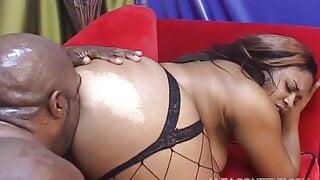 BBW black cunt gets to suck and fuck huge black cock